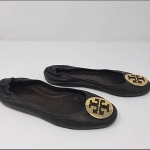 Tory Burch brown leather reva flats